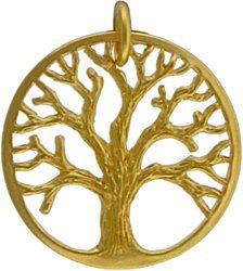 Round Detailed Open Design Family Tree of Life Pendant in Gold Vermeil #7653