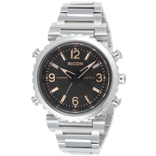 [リコー]RICOH 腕時計 アペックスリマインダー アナログ表示 10気圧防水 電磁誘導充電式 バイブレーションアラーム チタン仕様 日本製 ブラック 660006-11 メンズ