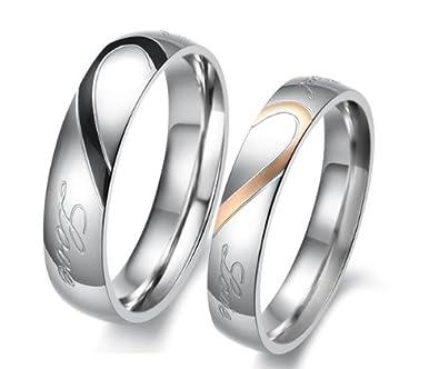 Athena Jewelry Titanium Series His & Hers Matching Set Heart Shape Titanium Couple Wedding Band Set (Size Selectable)