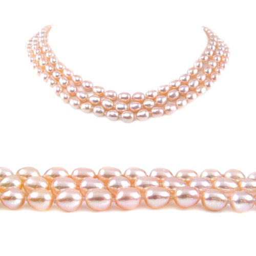 AugustinaJewelry Triple Strand 16-18 Inches 6-7mm Pink Oval Shape Freshwater Cultured Pearl Necklace
