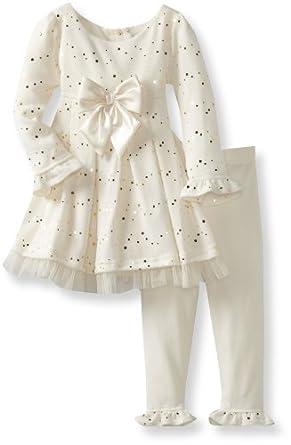 Sweet Heart Rose Little Girls' Sparkle Knit Legging Set, Ivory, 2