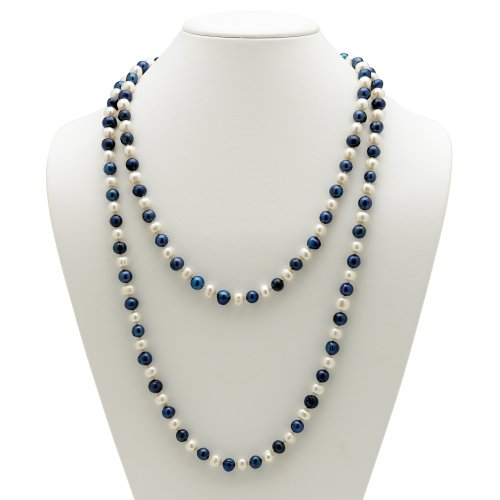 PalmBeach Jewelry Navy Blue and White Cultured Freshwater Pearl Necklace