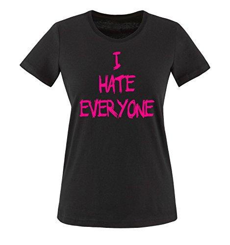 Comedy Shirts - I HATE EVERYONE - Donna T-Shirt maglietta - nero / fucsia taglia M