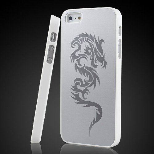 Classical Style Metal Aluminium Alloy Plastic Frame Dragon Drawing Back Case Cover For Iphone 5 5S With I-Deal Digital Soft Dustcloth And Front Clear Screen Protector Free Shipping (Pattern 1)