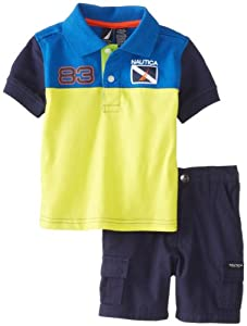 Nautica Baby-Boys Infant 2 Piece Stripe Polo and Short Set from Nautica