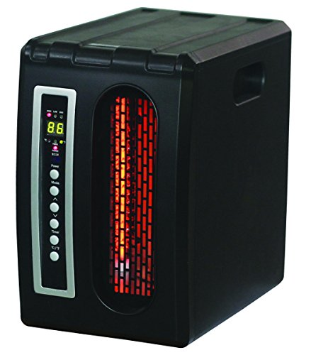 Comfort Glow QDE1320 Compact Infrared Quartz Heater with Black Finish, Remote