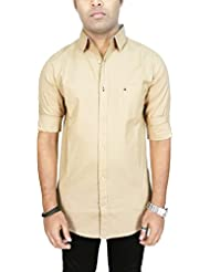AA' Southbay Men's Beige Premium Linen Cotton Long Sleeve Party Casual Shirt