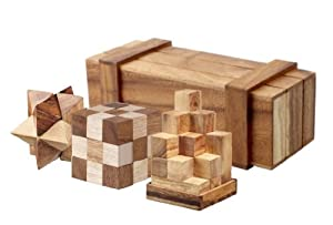 Magic Box with 3 Wooden Puzzles Gift Set - Open the Trick Box to Find 3 Great Puzzles Inside