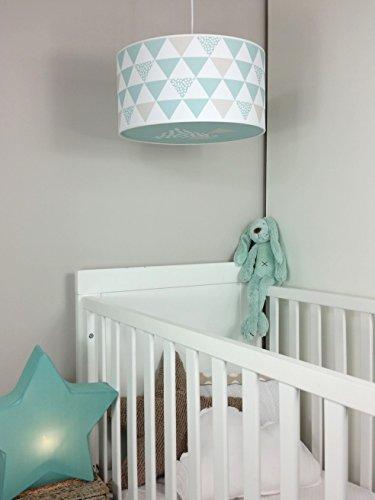 Luminaire-enfantlampe-de-plafondSuspension-Blanc-avec-Triangle-Vert-MentheGris-Taupe