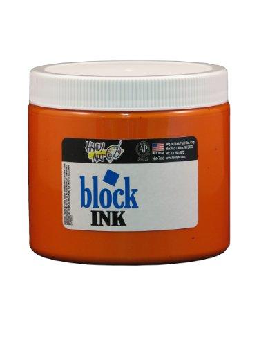 Handy Art 301-015 Water Soluble Block Printing Ink Jar, Orange, 16-Ounce