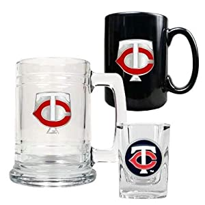 MLB Minnesota Twins 15-Ounce Tankard, 15-Ounce Ceramic Mug & 2-Ounce Shot Glass... by Great American Products
