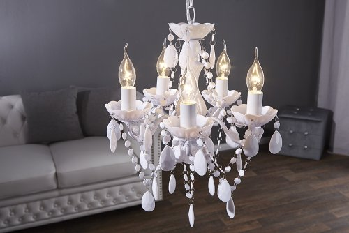 "DESIGN LAMPADARIO ""POMP"" | bianco, acrilico, 5 lumi, Ø 40 cm | stile retrò"