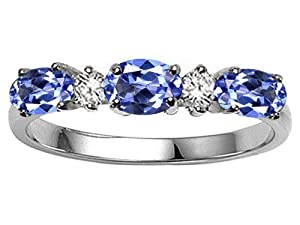 Tommaso Design(tm) Oval 5x3mm Genuine Tanzanite and Diamond Ring Band in 14 kt White Gold Size 6