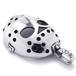 KONOV Jewelry Stainless Steel Halloween Jason Mask Mens Necklace Pendant - Silver, 18-26 inch Chain from Pin Zhen