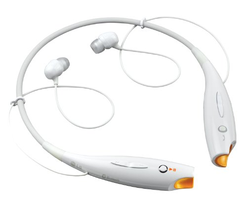 LG Electronics HBS-700W Wireless Bluetooth Stereo Headset - Retail Packaging - White/Orange