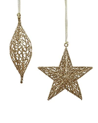 Winward Set of 2 Handcrafted Filigree Ornaments, Gold