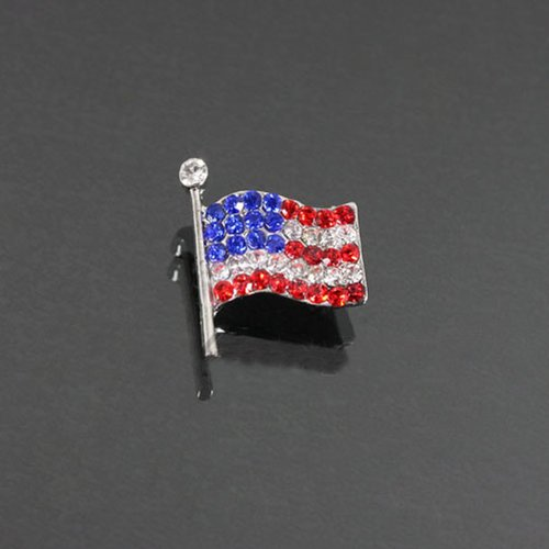 American Flag Rhinestone Brooch Bh6552-bc139