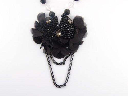 Black Net Flower Petals Rhinestone Loop Chain Sheer Chiffon Fabric Bib Necklace