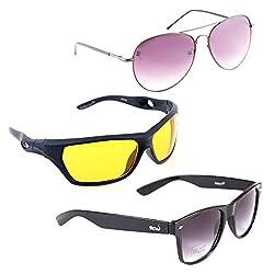 Elligator Stylish Aviator Spartiate Purple And Nightvision Yellow With Black Wayfarer Sunglasses Combo ( Set of 3 )
