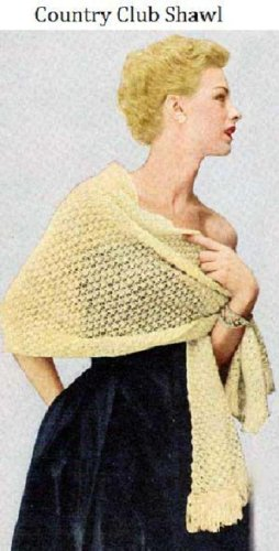 COUNTRY CLUB SHAWL - Vintage 1950's Knitting Pattern ~ Kindle Book / Ebook Download (e-book, knit, knitted, stole, yarn, crafts, diy)