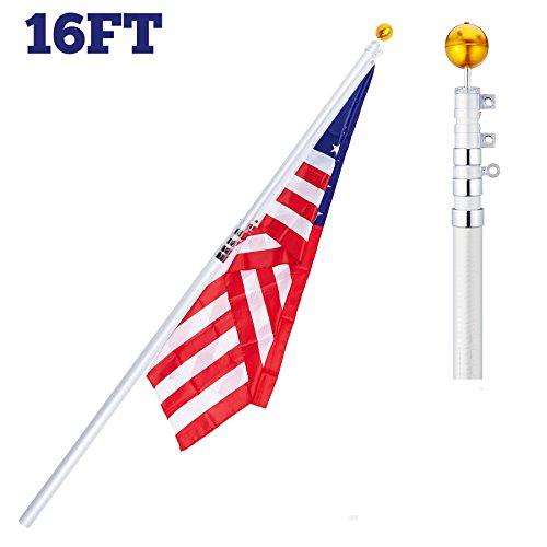 CO-Z 16' Tlescoping Aluminum Flag Pole Kit 4-Section falgpole for 1 US flag (Boat Flag Pole Bracket compare prices)
