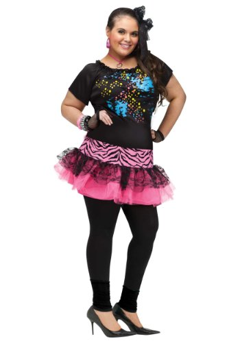 80s Pop Party Costume with Dress, Gloves, Hair Bow - Plus Size