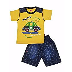 A POLICE CAR PRITED CASUAL T-SHIRT AND DENIM HALF PANT(YELLOW)