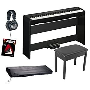 Yamaha P95 Digital Piano BUNDLE including Bench, Stand, Triple Pedal Board, Headphones, Fastrack Book and Dust Cover