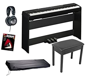 yamaha p95 digital piano bundle with bench stand triple pedal board headphones. Black Bedroom Furniture Sets. Home Design Ideas
