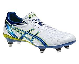 ASICS Lethal Flash DS3ST Chaussures de Rugby pour Homme, Blanc/Bleu/Jaune, 41.5