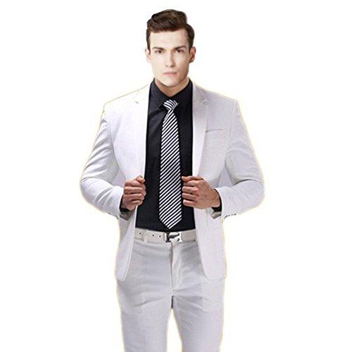 MYS-Pantaloni Tuta Notch 2Pulsante personalizzata Classic, colore: bianco White Su Misura