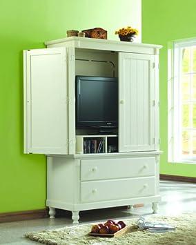 Homelegance 875 Pottery TV Armoire White Sand-Through