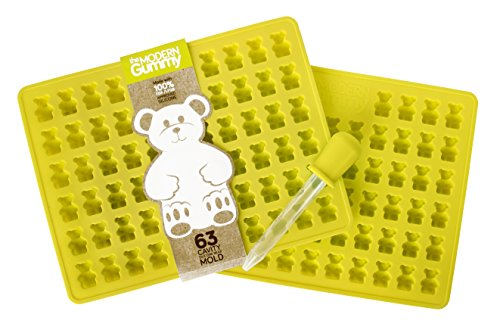 Best Deals! *2 PACK* 63 Cavity Silicone Gummy Bear Mold with BONUS DROPPER FOR EASY FILLING! Best Gu...