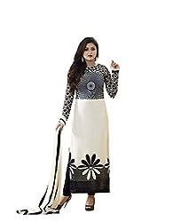 London Beauty Women's Georgette Salwar Suit Dress Material (LBD000BLACK&WHITE_White,Black)