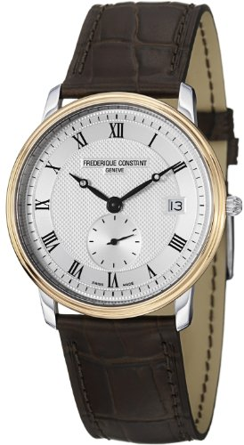 Frederique Constant Men's FC-245M4SZ7 Slim Line Brown Leather Strap Watch