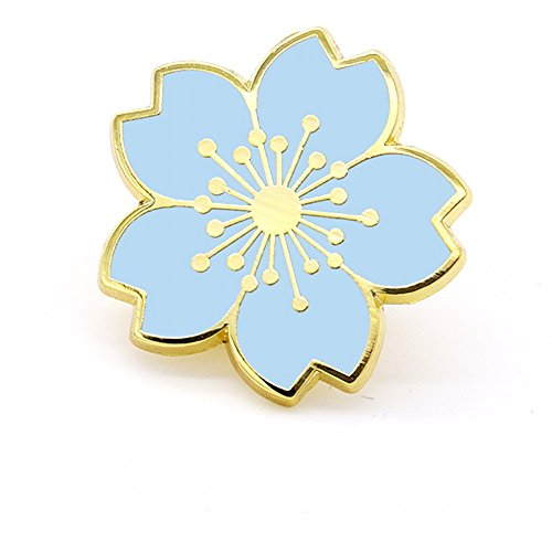 [Hi-Hi-World] places plus one cute cherry blossom motif pin badge 2 pieces from a set jacket bags (5 gold frame sky blue)