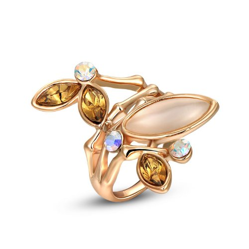 [BBX JEWELRY Women's Fashion 14K Rose Gold Plated Dendritic Crystal Opal Statement Rings,Size 8] (Hobbit Costume Ideas)