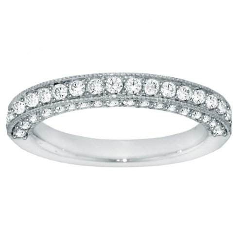 1.10 CT TW Round Diamond Pave Set Wedding Band