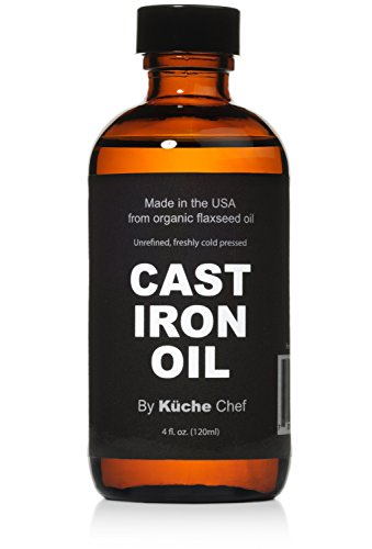 Organic Cast Iron Oil & Cast Iron Conditioner (4 oz) - Made from Flaxseed Oil grown and pressed in the USA - Creates a Non-Stick Seasoning on All Cast Iron Cookware (Cast Iron Nonstick Wok compare prices)