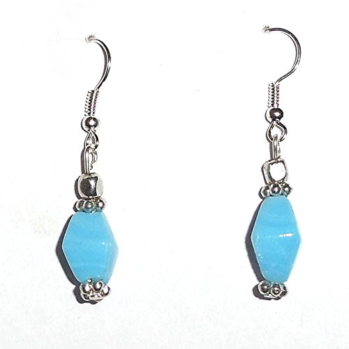 Beadworks Beadworks Glass, Metal & Silver Dangle & Drop Earring For Women -Silver & Turquoise (Multicolor)