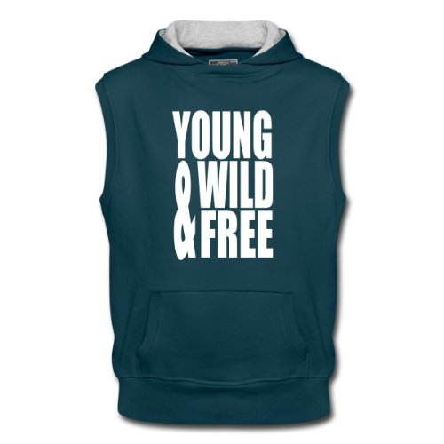 Spreadshirt, Young Wild and Free II, Men's Sleeveless Hoodie, petrol/ash, L