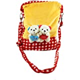 Tickles Red Couple Teddy Sling Bag Stuffed Soft Plush Toy For KIds 29 Cm