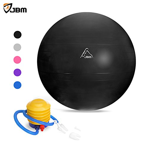JBM Exercise Yoga Ball with Free Air Pump (3 Sizes, 5 Colors) 2200 lbs Anti-burst Slip-resistant Yoga Balance Stability Swiss Ball for Fitness Exercise Training Core Strength - 55cm 65cm 75cm
