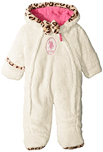 Us polo association baby-girls faux fur coral fleece pram with leopard print trim, winter white, 6-9 months