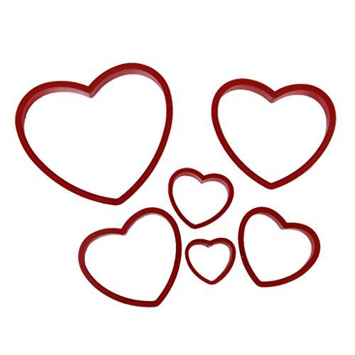 6pcs Emporte-pièces Moules Forme de Coeur pour Gâteau Fondant Cookie Outils d'Artisanat - Couleur Aléatoire