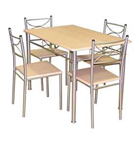 MDF Plus Steel Celine 5-Piece Dining Set, 111 x 71 x 76 cm, Natural Wood Effect