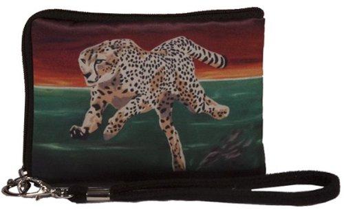 Cheetah Small Zip Around Wristlet - Wearable Art - Support Wildlife Conservation, Read How (Cheetah - Twlight Run)