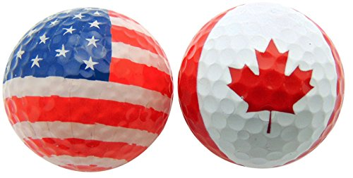 Golfer Gift Set of 2 Flag Golf Balls Canada & USA Patriotic Gift Pack (Canada Flag Ball compare prices)