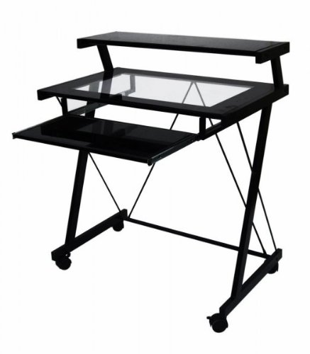 Buy Low Price Comfortable Frame Glass Computer Cart (Black) (37″H x 31.5″W x 20″D) (B003SA325O)