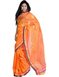 Exotic India Orange-Pearl Chanderi Sari With Hand Woven Golden Leaves - Orange